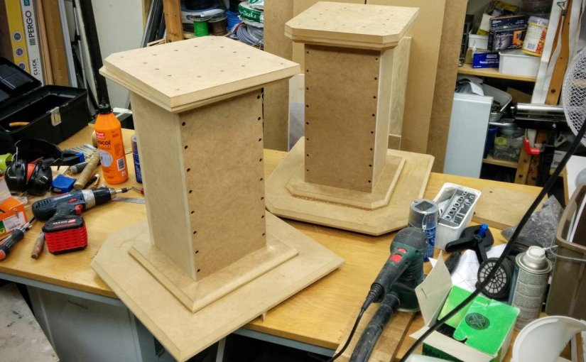 Speaker stands mostly glued up